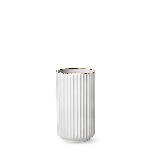 Our deluxe edition 20 cm original Lyngby vase in porcelain with gold line