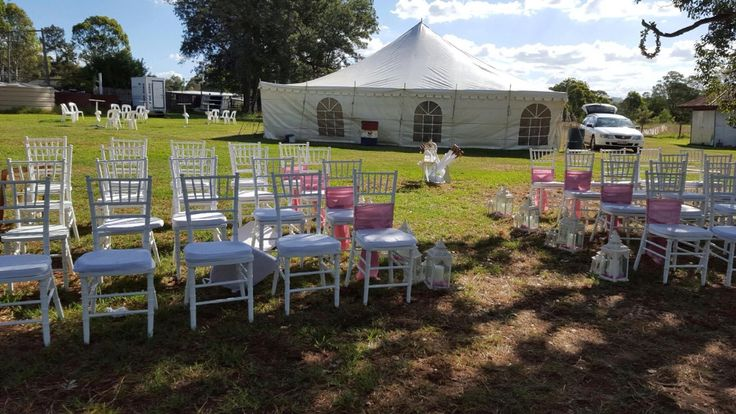 Marquee private home wedding, Tiffany chairs , aisle decorations , wedding lanterns , marquee wedding