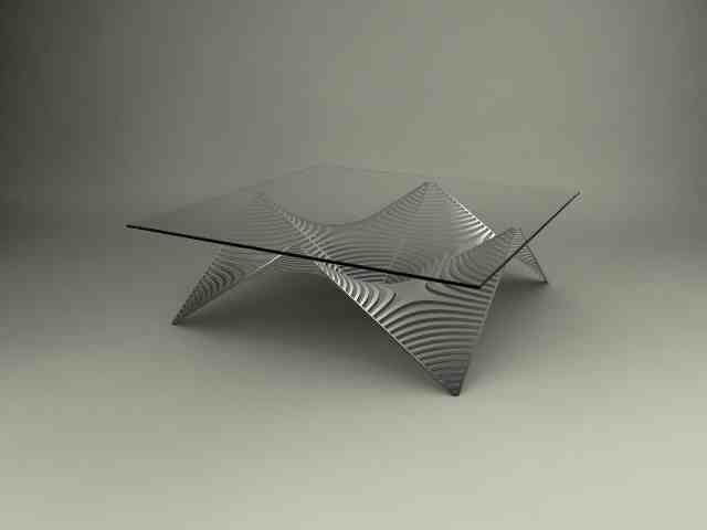 A #table Is Graced With #triangular #pattern In The #aluminium Base #