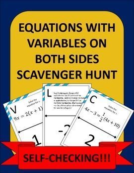 Equations with variables on both sides made fun! Instead of doing another boring worksheet, try a scavenger hunt and get the kids out of their seats and moving around! My students are always highly engaged when I use a scavenger hunt!
