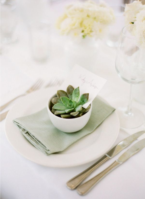 simple succulent table setting for a warm weather wedding + touch of color with the linen napkin. Photography by: Kate Headley #wedding