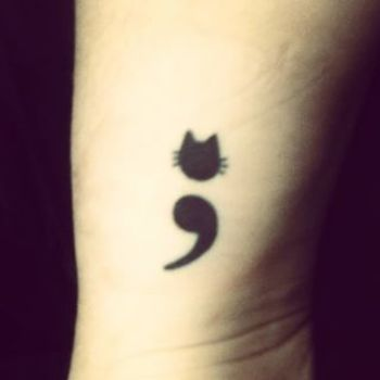 cat semi-colon tattoos - Google Search