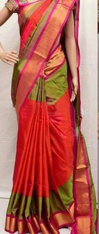 Uppada Pink with Green Color Silk Saree with Gold color border by UppadaPattu on Etsy