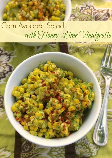 Corn Avocado Salad with Honey Lime Vinaigrette | Teaspoonofspice.com Super summer side for a cookout - be prepare to share the recipe!