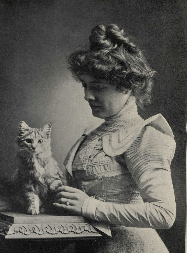 """~Woman and her cat, c1890-1900s (Kitty is thinking, """"ok did you take the picture?  This lady is holding my paw and I see something really cool over there....)"""