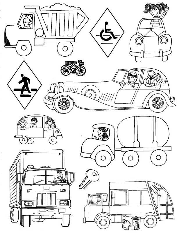 Land Vehicles Coloring Pages For Preschool And Kindergarten Coloring Pages Airplane Coloring Pages Teach English To Kids