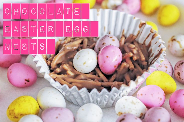 Recipe for Chocolate Easter Egg Nests. Easy-to-make, delicious Easter treats.
