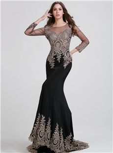 Hourglass Celebrity Court Formal Elegant & Luxurious Appliques High Neck Long Sleeves Dress