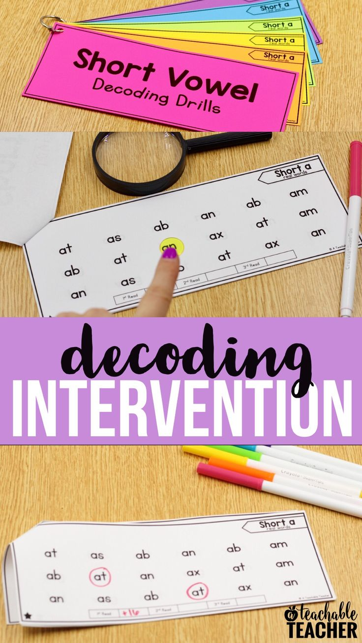 I use decoding drills at the beginning of reading intervention blocks. Students read the words across the row. Once they are able to fluently read a page, we move on to the next | struggling reading | reading activities kindergarten | reading first grade | printable reading worksheets | teaching short vowels | sight words | reading curriculum | decoding activities | early reading activities | short vowel sounds