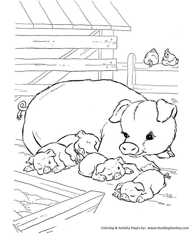 Farm animal coloring page | Pigs napping