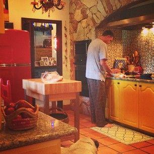 eclectic kitchen, farmhouse kitchen, red refrigerator, vintage fridge. colorful, unique kitchens.