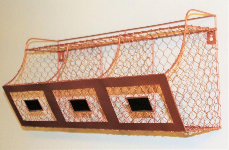 Glory & Grace Copper Rustic Industrial Farmhouse Wall Mount Kitchen Bins Shelf, Chalkboard Tags