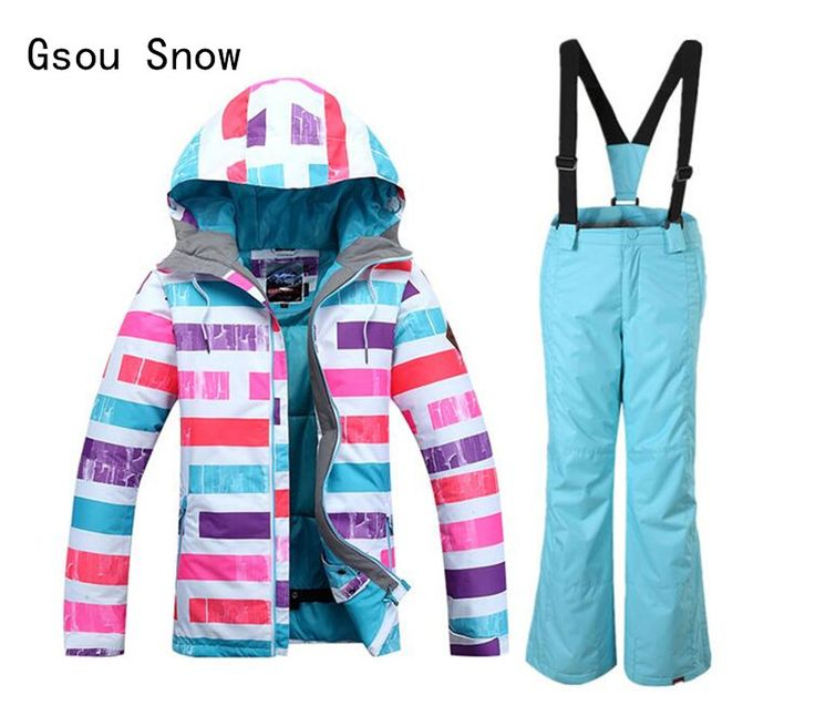 New Style Girl Gsou Snow Band Ski Suit Windproof Waterproof Skiing Snowboard Jacket Pants Children Winter Warm Clothing Suit Set #Affiliate