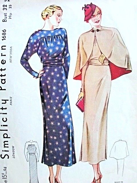 1930s Stunning Cape and Dress Pattern Simplicity 1686 Vintage Sewing Pattern NRA Dress Pattern Bust 32