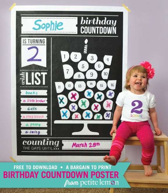 Similar to an advent calendar, this poster is a super fun way for kiddos to mark off the days until their birthday! FREEBIE from Petite Lemon!!