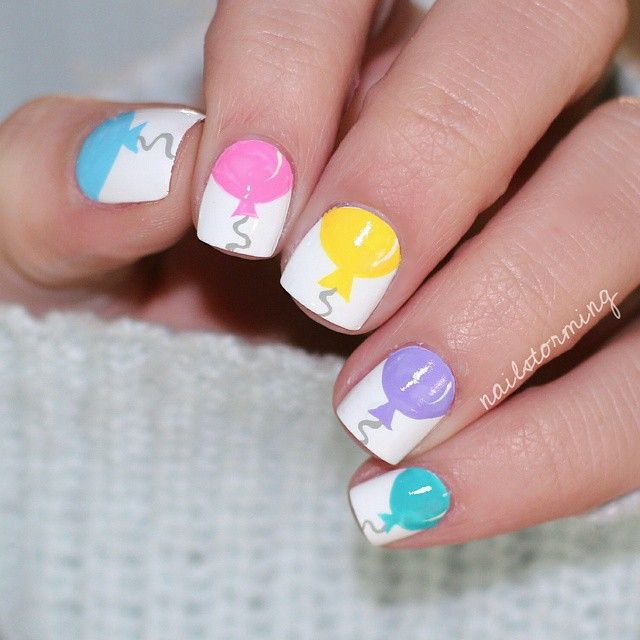 Best 25 birthday nail designs ideas on pinterest party nails balloon nail art prinsesfo Choice Image