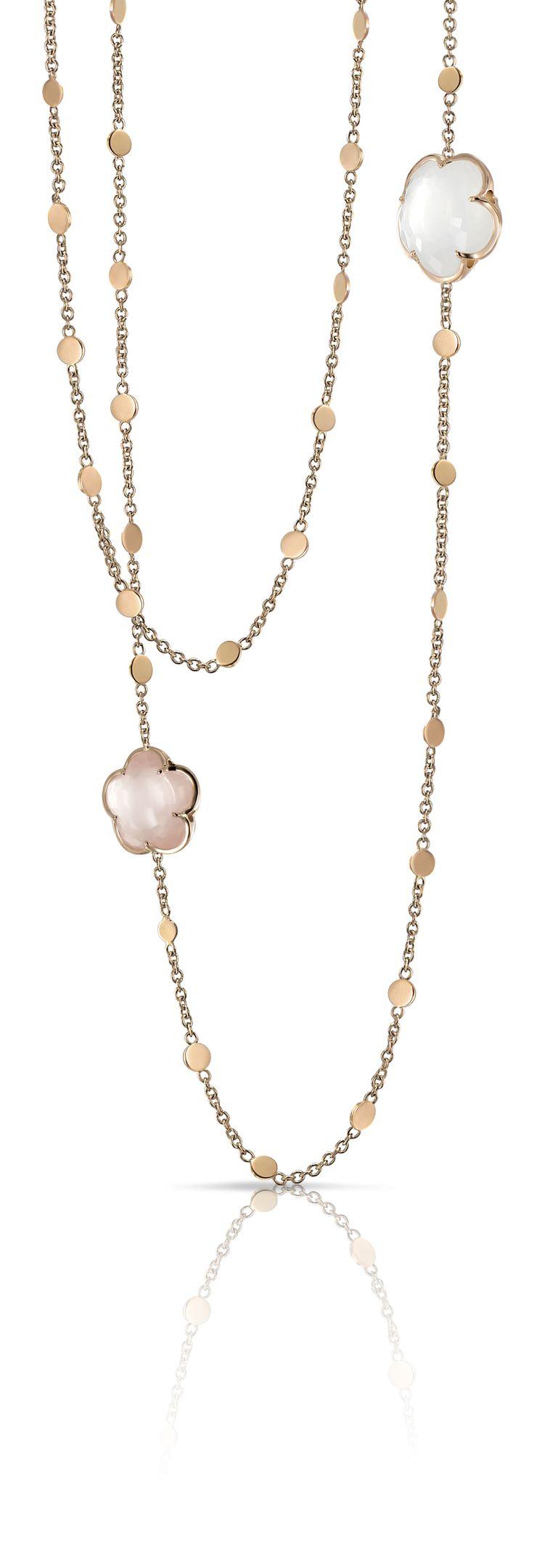 Bon ton necklace Milky and pink quartz