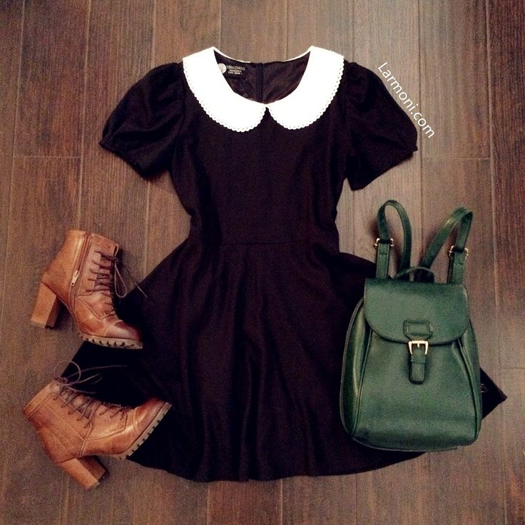Black dress peter pan collar tumblr