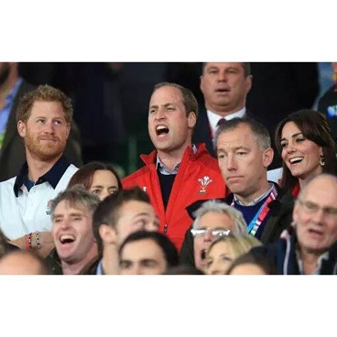 Apparently Kate, William and Harry are supporting different teams from each other in the England vs Wales game that is happening right now! | Rugby World Cup, London 26 September 2015