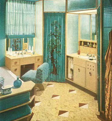 1940s Bathroom Swanky art deco bathroom. I like it!