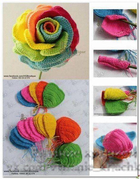 Multicolor Rose Motif - Free Crochet Diagram - (delicadezasalcrochet.blogspot)