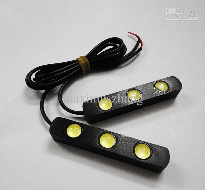 $14.16,2pcs DRL 3x led strip auto led lights Lens LED light bar 12v Waterproof universal car daytime light