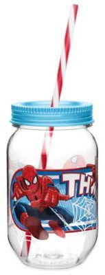 Zak! Designs® Marvel® Spider-Man 19-Ounce Tritan Canning Jar Tumbler with Straw