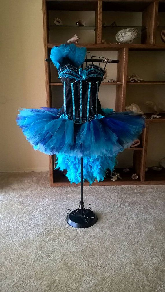Blue Burlesque Corset And Skirt With Tail Feathers Rhinestones Many Shades Of Blues