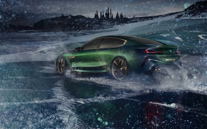 Download wallpapers BMW Concept M8 Gran Coupe, 4k, 2018 cars, winter, BMW