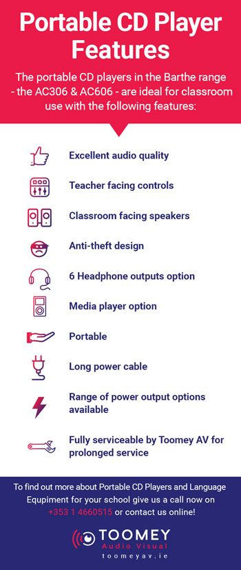 Portable CD Player Features - Language Equipment for Schools Ireland