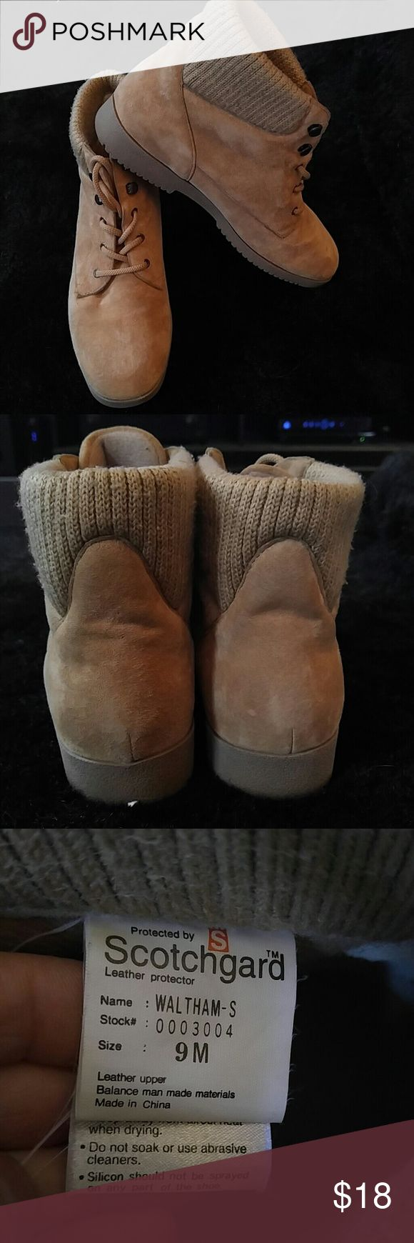 Cute leather boots. Really cute boots. Leather, scotchgard protected. In very good condition. 1 small spot on side of right boot. Please see picture Boston Accent Sport Shoes Ankle Boots & Booties
