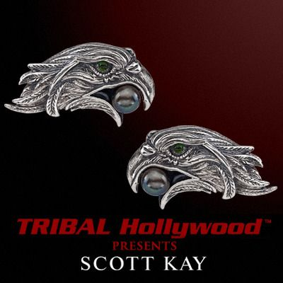EAGLE Cufflinks in Sterling Silver with Blue Pearl by Scott Kay | Tribal Hollywood