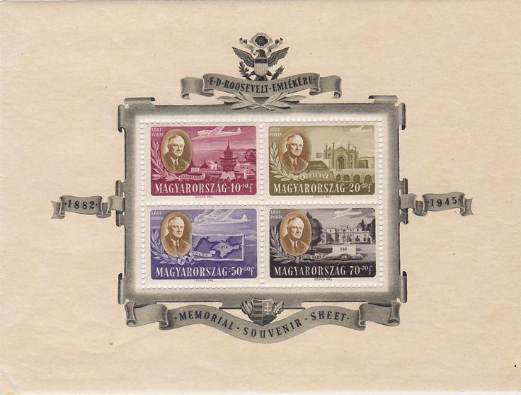 President Franklin Roosevelt Memorial Vintage Magyarorszag FDR Postal Stamps Sheet