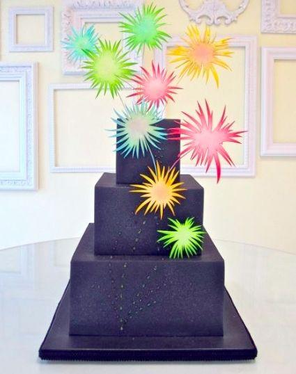 black square firework cake