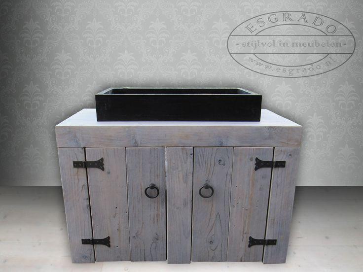 wastafel van steigerhout met wasbak  Mooie meubelen van steigerhout  Pinter # Esgrado Wasbak_224758