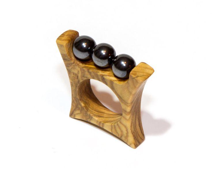 Ring -  Olive wood & hematite.