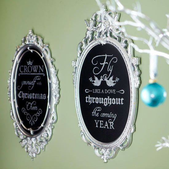 •Poetic Chalkboards - With a little help, you'll have holiday wall art that's beautiful to look at and read. You'll need a framed chalkboard or a decorative frame and some chalkboard paint for this project. Print and enlarge our chalk design to fit your frame. Tape the design to the chalkboard, and slide white transfer paper underneath. Trace and fill in the design with a chalk pencil, keeping the pencil sharp for crisp lines