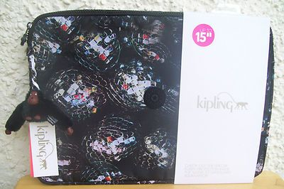 "BNWT Party Print KIPLING Laptop Sleeve Bag 15"" with Gracetao Monkey rrp £37.00"