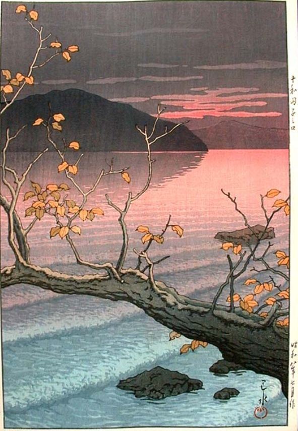 Autumn at Nenokuchi, Towada Lake by Hasui (1933)