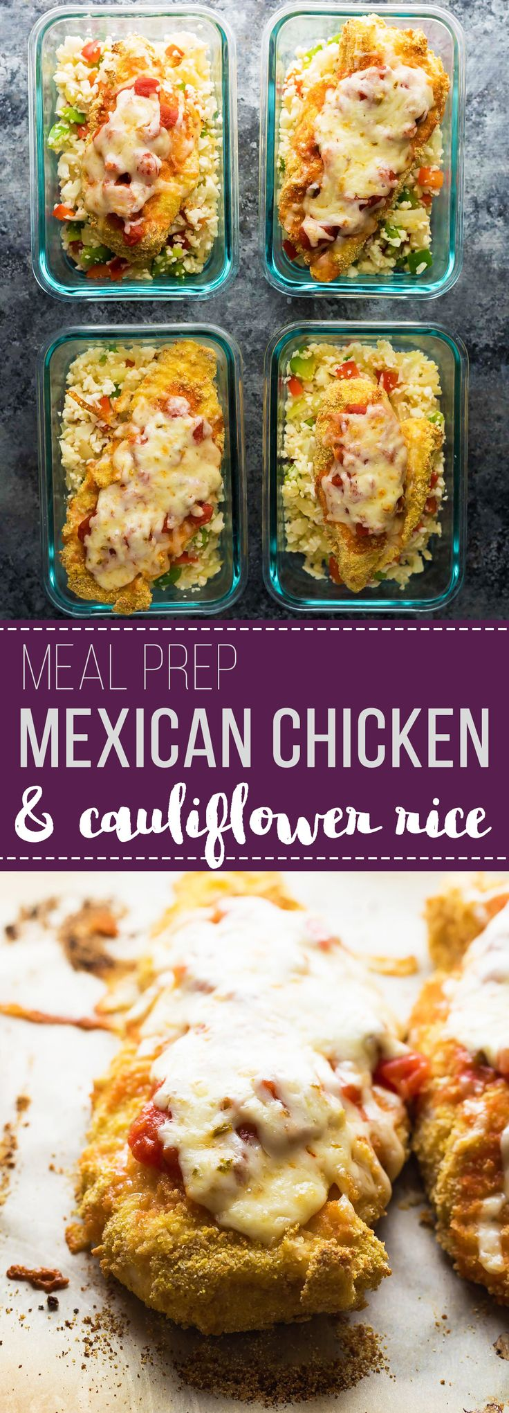 Mexican chicken and cauliflower rice meal prep bowls make for a tasty, low carb work lunch that can be prepped on the weekend.  Topped with jalapeño Monterey Jack cheese for a little kick!