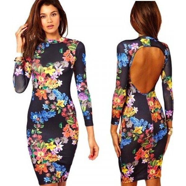 'Flora' open rug bloemenprint knie lengte jurk met lange mouwen