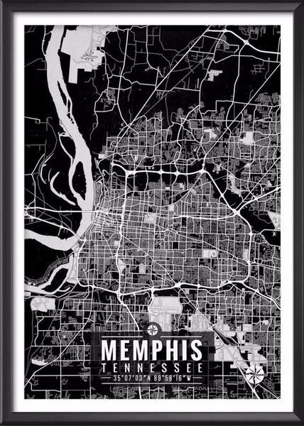 Shop our Memphis Tennessee Map with Coordinates. High Quality Memphis Map. Printed onto Photo Supreme Matte Paper. A Stylish and Unique Map Design.