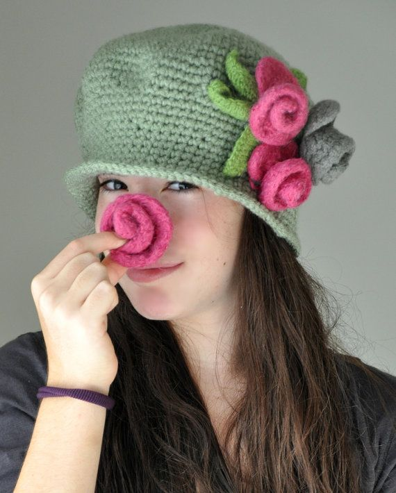 Crochet Hat Light Green Cloche Hat with Magenta by TeaPartyHats, $38.00