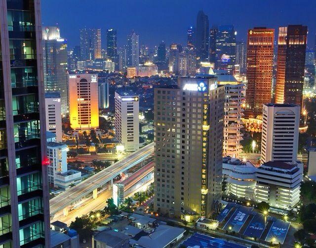 Jakarta On Night. Jakarta, Indonesia