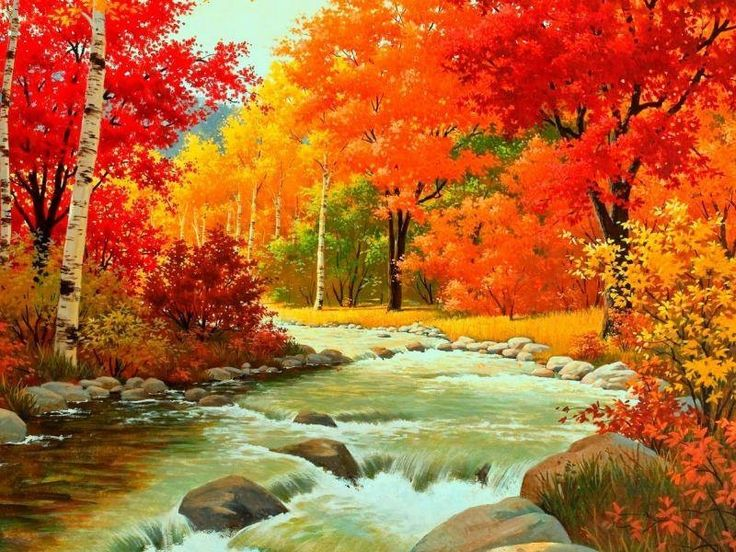 Autumn Waterfalls Painting art trees autumn drawing leaves fall painting waterfalls
