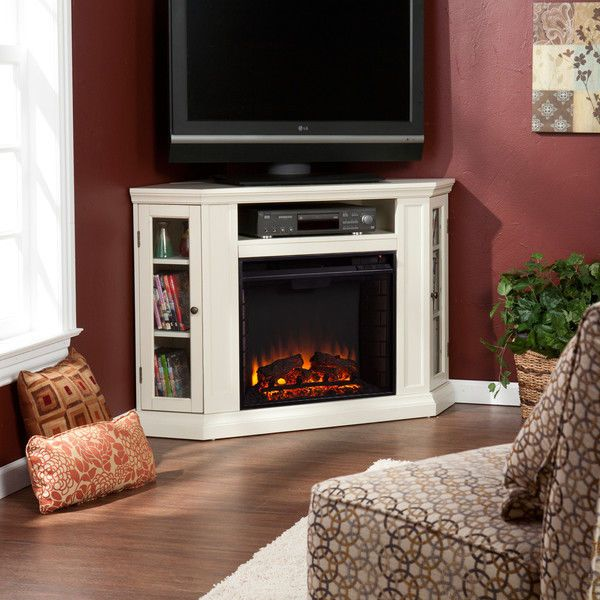 """TV Stand Electric Fireplace Entertainment Center Media Console 52"""" Corner White 