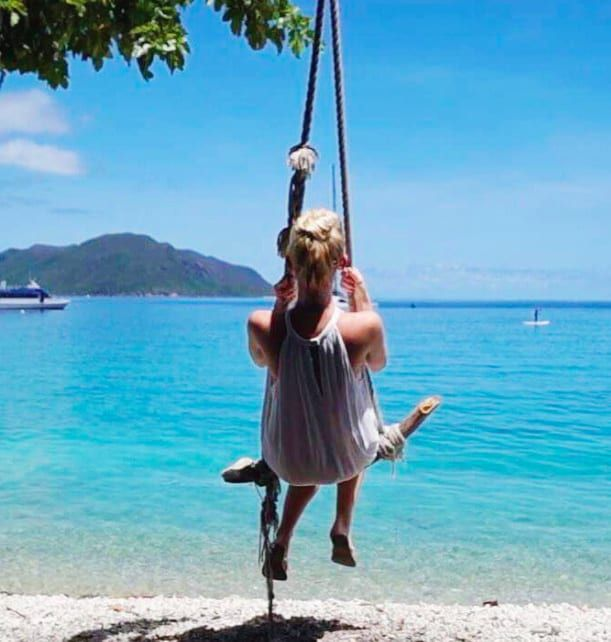 Fitzroy Island is not only home to Australia's second-best beach (Nudey Beach), but it's also got a super-fun ocean trampoline and rope beach swing! Perfect!