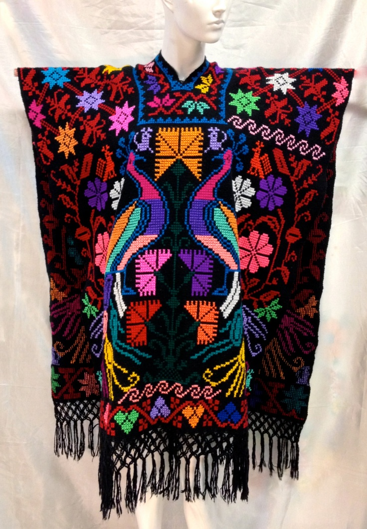Cross Stitched Peacocks Jorongo Poncho Traditional
