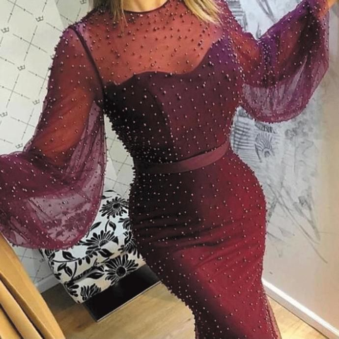 Deep purple evening dresses long beaded peals long sleeve elegant evening gown 2020 robe de soiree formal dresses