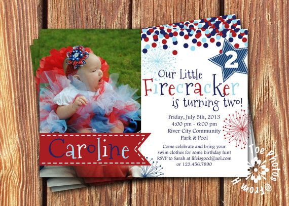 Fourth of July Party Invitations by FromHeadtoToeDesigns on Etsy, $12.00